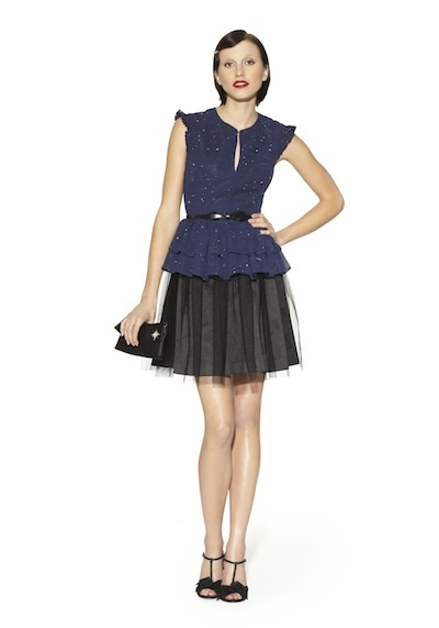 Black and navy peplum dress