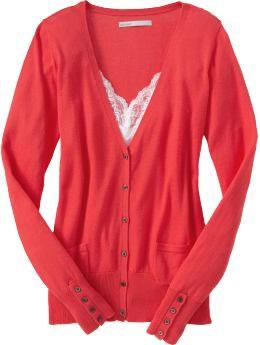Women's perfect cardigan in bright coral