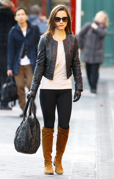 Pippa Middleton looks motorcycle-chic