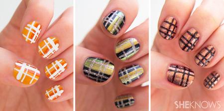 Classic plaid nail art