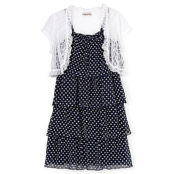 Polka-dot dress & shrug set