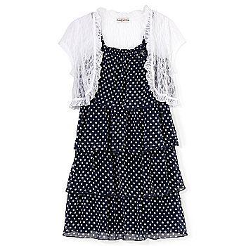 Polka-dot dress & shrug set