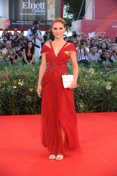 Natalie Portman in a red gown