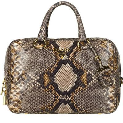 Prada Cervo Lux-print Bowler Bag