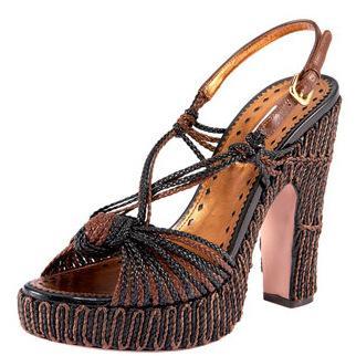 Prada Raffia Plaform Sandals
