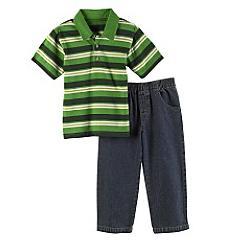2-Piece Stripe Polo Shirt & Denim Pant Set