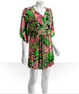 T-Bags green tropical floral jersey kimono sleeve mini dress