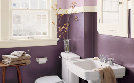 Gray blue and purple themes a simple indulgence bathroom for Grey and purple bathroom ideas