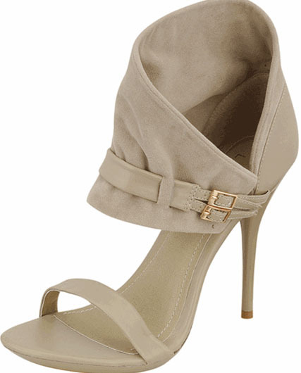 Beige Faux Suede Ankle Cuff Sandals