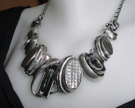 Chunky Textured Urban Metal Crystal Necklace