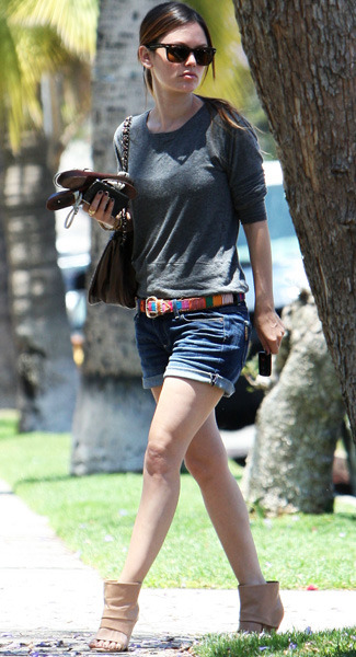 Rachel Bilson steps out in denim and beige boots