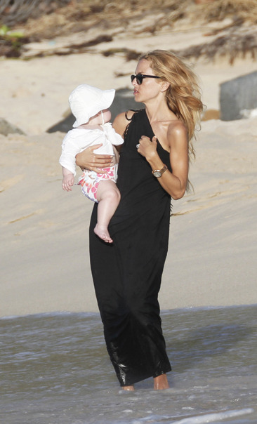 Rachel Zoe on St. Barts beach with her baby son