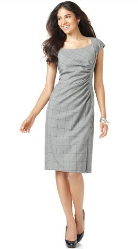 Side gathered cap sleeve plaid dress