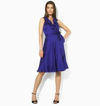 Ralph Lauren Shannon Silk Ruffle Wrap Dress