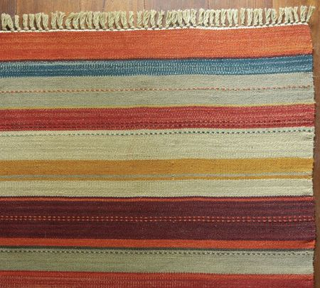 Rustic stripe recycled yarn rug