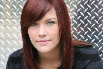 Red hair - Side swept bangs