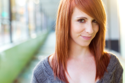 Red hair - Angled layers with side swept bangs