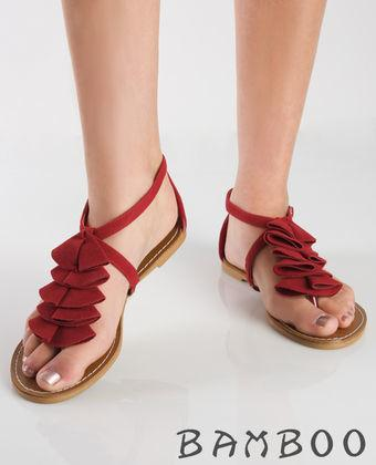 Bamboo Darling 48 Red Suede Ruffle T-Strap Sandal