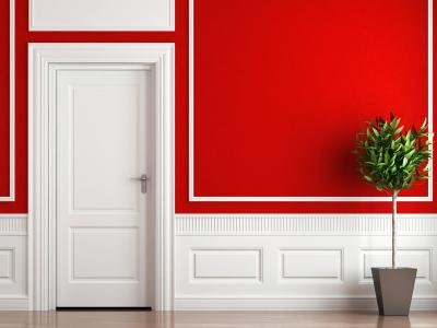 red yellow orange themes red walls white molding