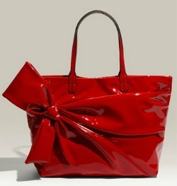 Red patent bags