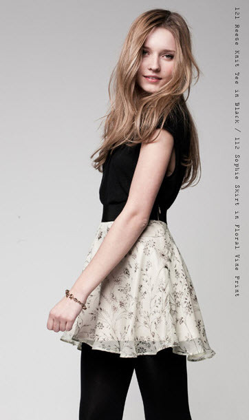 Reese Knit Tee and Sophie Skirt in Floral Print