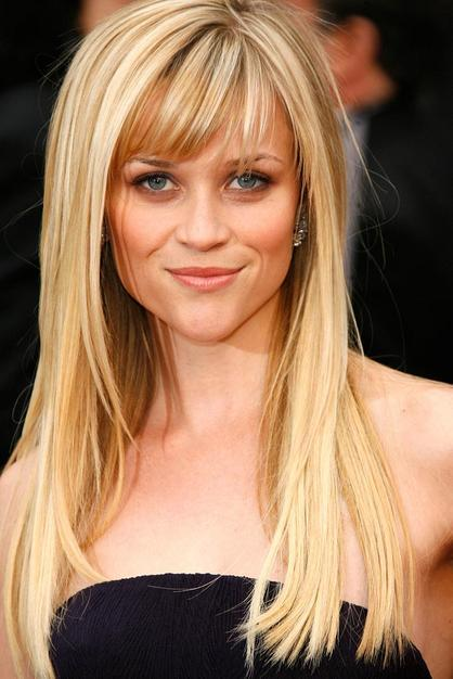 Reese Witherspoon's chunky bangs and sleek long hair
