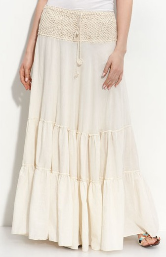 Cream Crocheted-Waistband Tiered Skirt