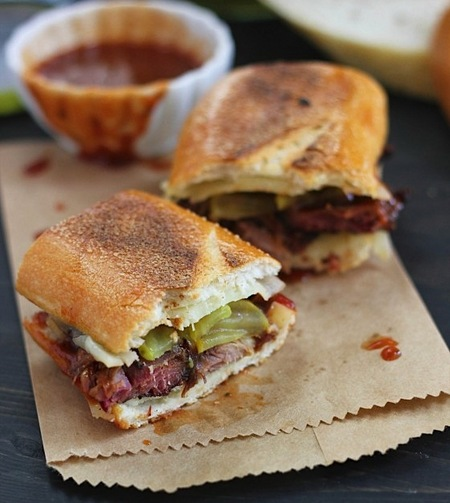 Burnt ends grilled cheese sandwich