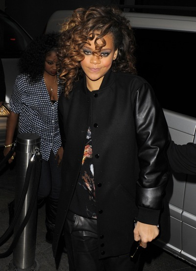 Rihanna in a baseball jacket