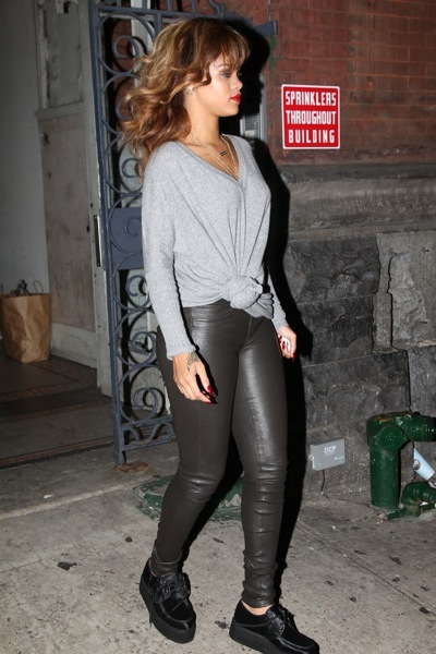 Rihanna in leather leggings