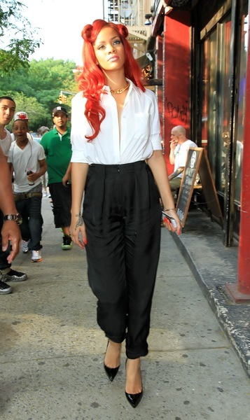 Rihanna in a white button down