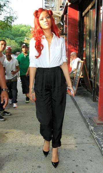 Rihanna in a white button down