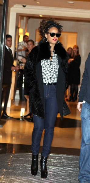 Rihanna in fur trim