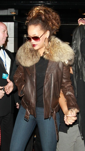 Rihanna in a bomber jacket
