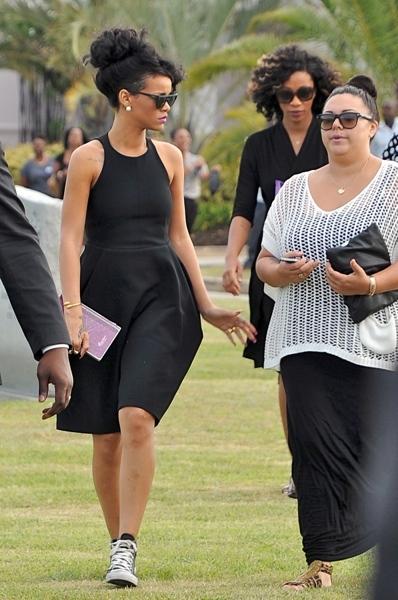 Rihanna atteneds grandmother's funeral