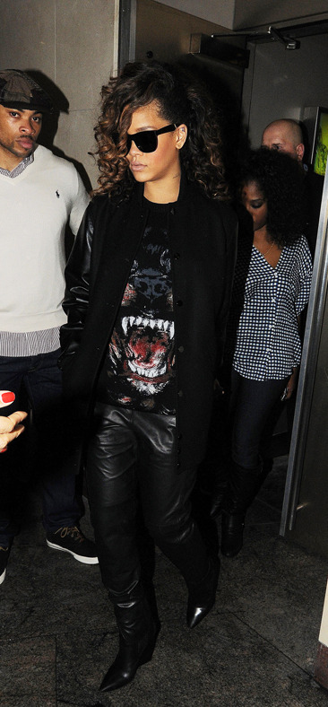 Rihanna leaves a London nightclub
