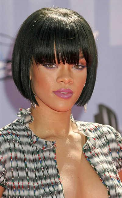 rihanna hairstyles bob. Rihanna#39;s Bob with Bangs