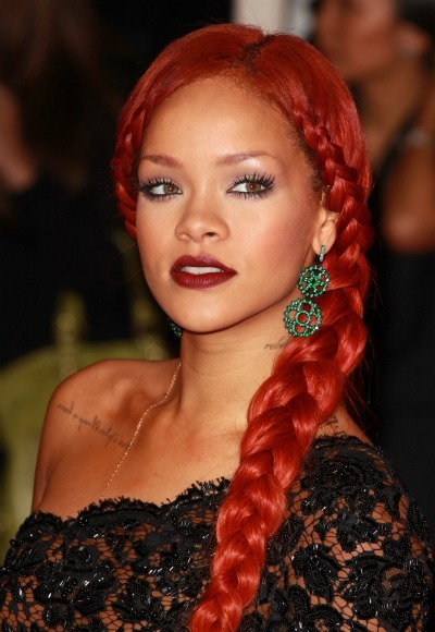 Rihanna's bright red braid