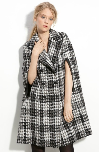 Double-Breasted Houndstooth Cape