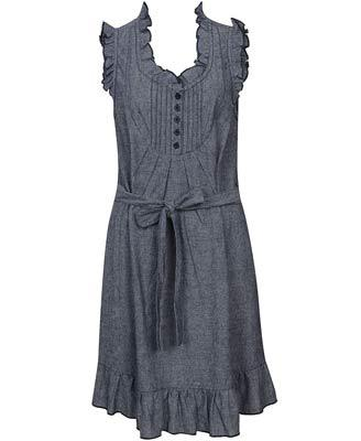 Ruffle Pintucked Linen Dress