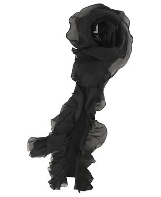 Ruffled scarf in black