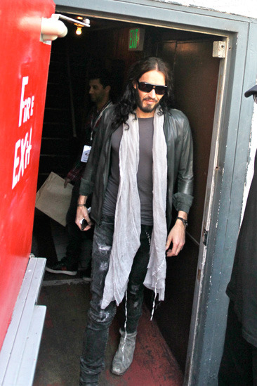 Russell Brand leaves the Troubador Theatre in LA