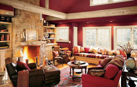 Living Room Lighting Ideas on Rustic Lodge   Living Room   Red  Yellow   Orange Themes