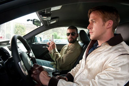 Ryan Gosling filming a scene for Drive