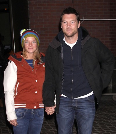Sam Worthington and Girlfriend at the New York Premiere of 'Man on a Ledge'