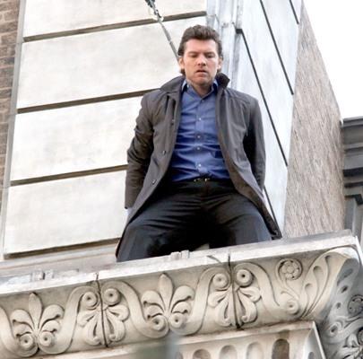 "Sam Worthington shooting on location for ""Man on a Ledge"""