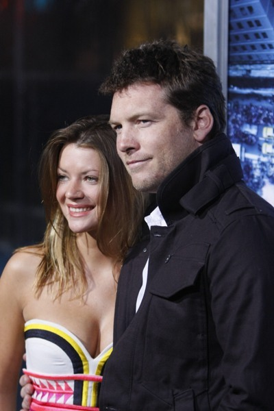 Sam Worthington and Crystal Humphries attending the premiere of &amp;quot;Man On A Ledge&amp;quot;