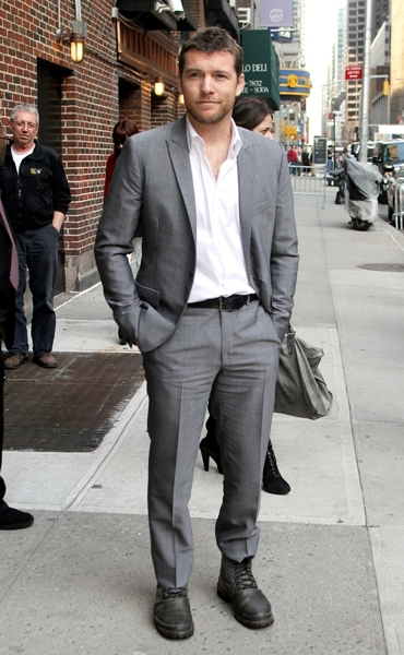 Sam Worthington outside the Ed Sullivan Theater