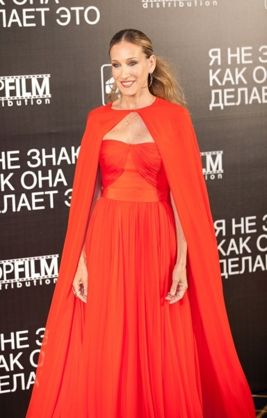 Sarah Jessica Parker in an orange gown