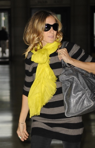 Sarah Jessica Parker in a yellow scarf